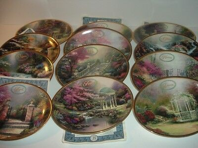 12 Thomas Kinkade 2001 Daily Gifts from Gods Garden Month Plates
