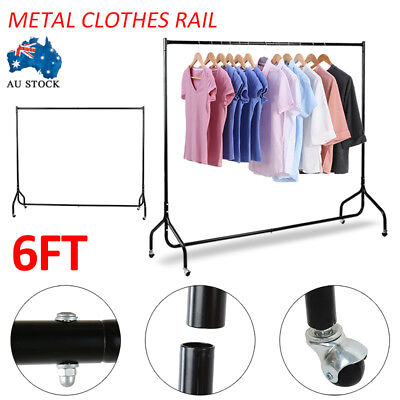 6FT Portable Mental Rolling Garment Rack Clothes Rail Hanger Dryer Stand