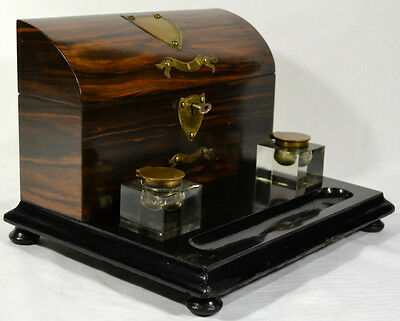 COROMANDEL DESK SET STATIONARY BOX INKWELLS PEN HOLDER c1870 ENGLISH ORIGINAL