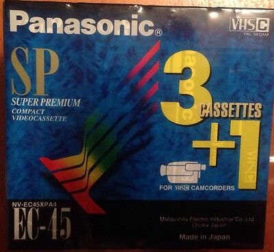 4 X Panasonic SP Camcorder Video Cassettes VHS C EC-45 NV-EC45XPA4