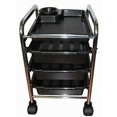 BLACK  PEDICURE TROLLEY  3 traysstorage  convenient product compartments
