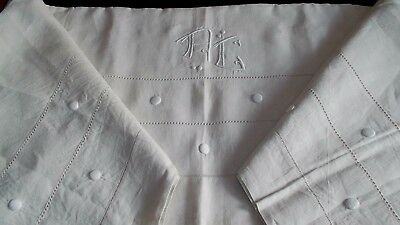 2 French antique hd embroidered LARGE LINEN SHEETS  mono AC pull out thread DOTS