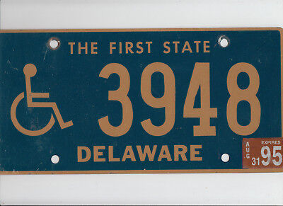 "DELAWARE 1995 license plate ""3948"" ***HANDICAPPED/DISABLED***"