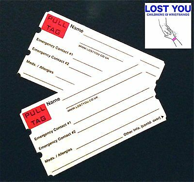 Child Kid Safety Id Wristband,  For Lost Children (Spare Id Tags)White Lostyouuk