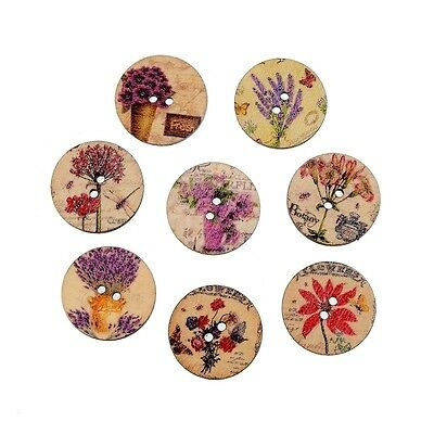 Pack of 5 Multicolour Vintage Floral Wooden Buttons 25mm - Sewing/Scrapbooking
