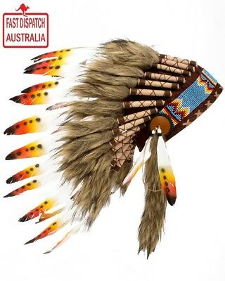 Indian Chief Native American Yellow And Orange Feather Indian Headdress