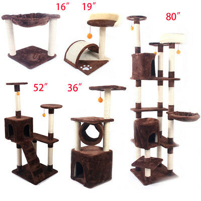 "16""—80"" Cat Tree Tower Condo Furniture Scratching Post Pet Kitty Play House"