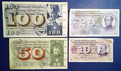 SWITZERLAND: Set of 4 Francs Banknotes - Very Fine
