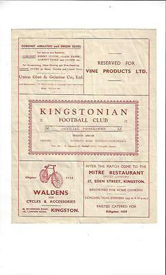 Kingstonian v Dulwich Hamlet Football Programme 1947/48