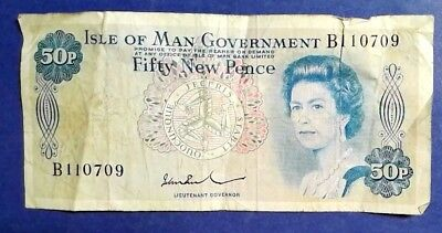 ISLE OF MAN: 1 x 50p Isle of Man GOvernment Banknote - Fine Condition