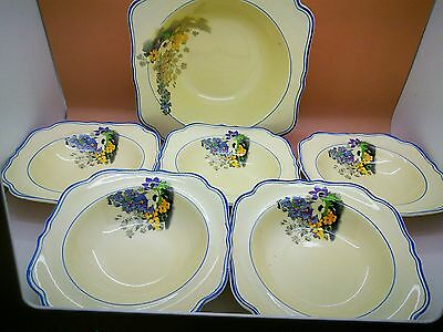 BEAUTIFUL 1930s CROWN DUCAL * VIOLETS * *serving bowl & 5 pudding bowls