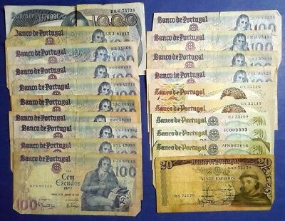 PORTUGAL: Set of 20 Escudos Banknotes Fine to Extremely Fine Condition