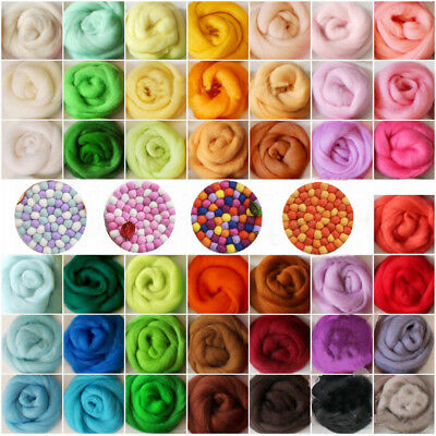 36 Colors Top Merino Fibre Wool Roving Needle Felting Sewing Trimming Craft #TOP