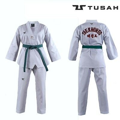 Tusah Kids WT Taekwondo Dobok Childs Suit White V-Neck Uniform Embroidered Back
