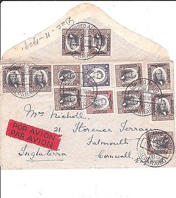 CHILE: 2 x Airmail covers from Valparaiso & Temoco to. U.K. franked o/ps 1929/31