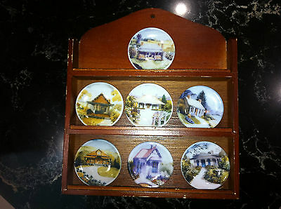 AUSTRALIAN HOUSES Collector Plates in Timber Shadow Box HARLEQUIN MINIATURES