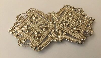 HM Antique Victorian Sterling Silver Nurses Belt Buckle Tea Chest Design
