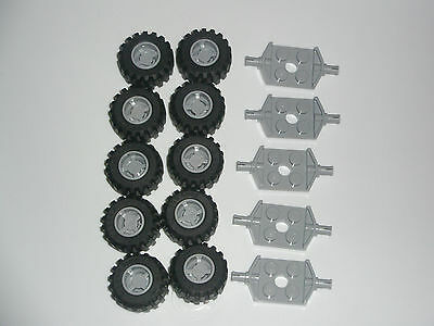 Lego 10 Wheels + axles - Grey - NEW - FREE POSTAGE - city, cars or truck