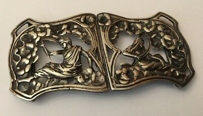 HM Antique Art Nouveau 1901 Sterling Silver Nurses Belt Buckle Roman God Goddess