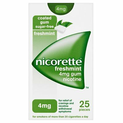 Nicorette FRESHMINT Sugar FREE 4mg GUM Nicotine ~ Pack of 25 ~ NEW & SEALED ~