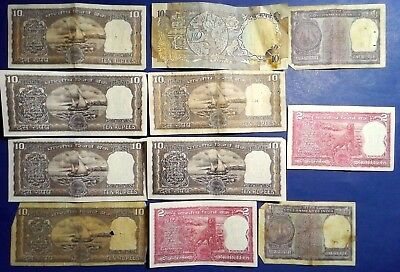 INDIA: Set of 11 Rupee Banknotes - Very Fine Condition