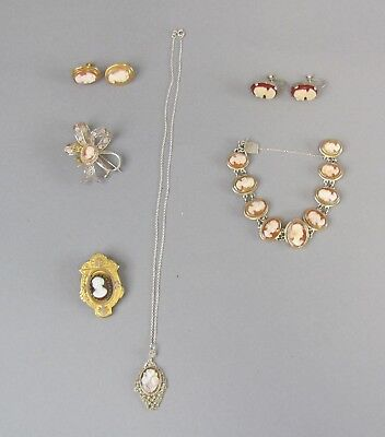 Collection of Antique Cameo Jewelry Set in Sterling,Gold Filled