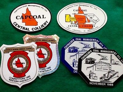 COAL Mine COLLIERY Stickers Lot (6) CAPCOAL Capricorn Co LONGWALL  ... FREE POST