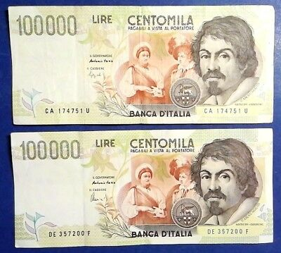 ITALY: 2 x 100,000 Lira Banknotes Very Fine Condition