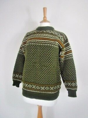 Vintage Dale Norway Pure Wool Green Genuine Nordic Jumper UK Size 12