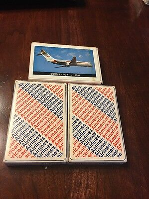 Lot of 3 Vintage Airplane playing cards American Airlines TWA Dougas DC-9 (1966)