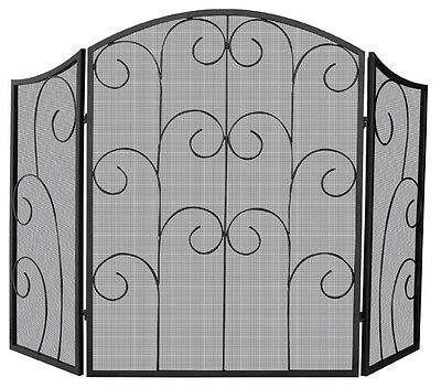 """Uniflame 3 Panel Black Wrought Iron Screen with Decorative Scroll - 35"""" x 52"""""""