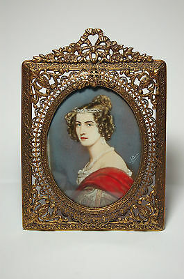 Antique Miniature Painting Amilia Von Schintling Wafer Gilt Brass Frame Signed