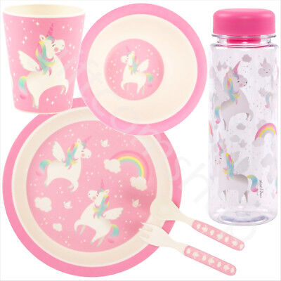 Childrens Kids Pink Bamboo Dining  Meal Set Plate Bowl Cup Unicorn Water Bottle