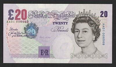 Lowther Elgar Twenty Pound £20 Banknote AA01 Low Number Uncirculated B386 (1999)