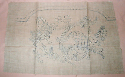 Vintage Embroidery Pattern Printed Linen: Jacobean Style Chair Back Antimacassar