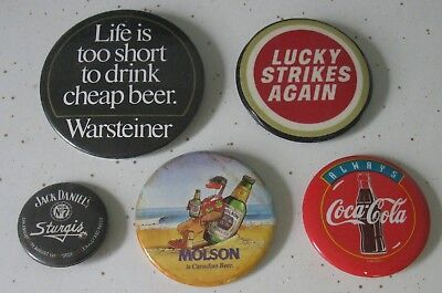Set Of 5 Advertising Buttons W / Pins Mixed Variety, Beer, Jack Daniels, Coke