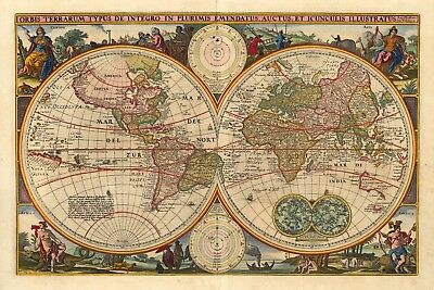 World Map Antique Vintage Reproduction Old Style Poster Print, 13x19
