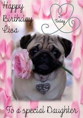 personalised birthday card Pug any name/age/relation