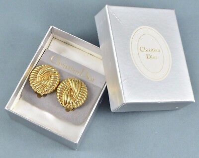 Vintage Earrings CHRISTIAN DIOR 1980s Boxed Goldtone Clips Bridal Jewellery