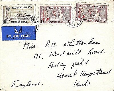 FALKLAND ISLANDS: Airmail  Cover franked 3/- sent 8th April 1952.