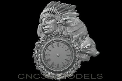 3D Model STL for CNC Router Carving Artcam Aspire Clock Indian Eagle b407