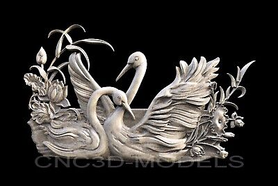 3D Model STL for CNC Router Engraver Carving Artcam Aspire Love Lake Swan b208