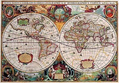 1630 World Map Antique Vintage Reproduction Old Style Poster Print, 13x19