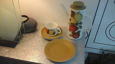Vintage 1960s 1970s J & G Meakin Orange & Lemons Coffee Pot Cup Saucer & Plate