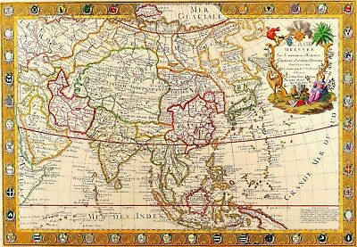 1732 Asia World Map Antique Vintage Reproduction Old Style Poster Print, 13x19
