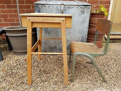 old vintage retro childs desk and chair