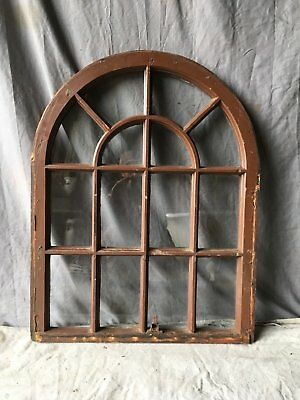 Antique 14 Lite Arched Dome Top Window Sash Shabby Old Vtg Chic 33x26 723-17E
