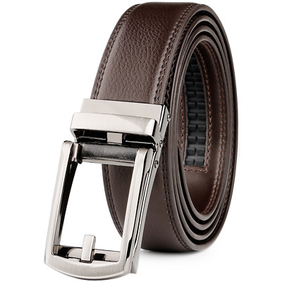 """WERFORU Leather Ratchet Dress Belt for Men Perfect Fit Waist Size Up to 44"""" with"""