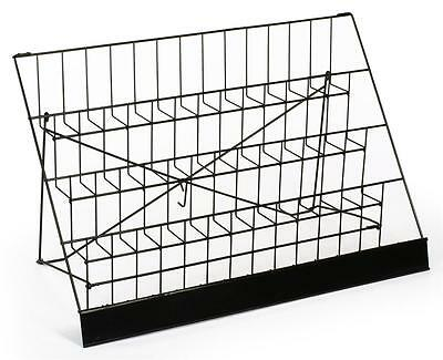 """4-Tiered 29"""" Wire Display Rack for Tabletops, 2.5"""" Open Shelves, with Header"""