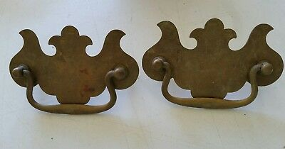 2 MATCHING Vintage  used brass pulls handles drawer 3 INCH  CTR TO CTR   (103D)